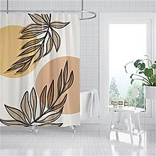 Printed White Maple Leaf Plant Shower Curtain