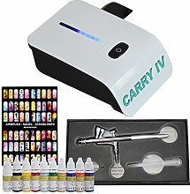 Professional Airbrush Set Carry IV White and Nail