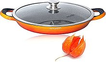 Professional Paella Pan with Oven Safe Lid –