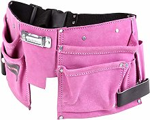 Professional Pink Double Leather Tool Belt with 11