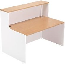 Progress Reception Desk, White/Beech