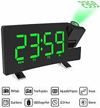 """Projection Alarm Clock 7"""" LED Curved-Screen"""