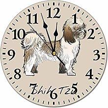 Promini Animals Illustration Shih Tzu Wall Clock