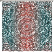 Promini Coral And Teal Bathtub Shower Curtain