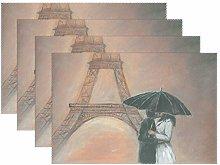 Promini Heat-Resistant Placemats, Kissing Paris