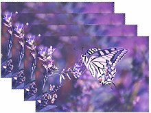 Promini Purple Butterfly Flower Placemats Vintage