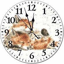 Promini Watercolor Animal Fox Up Wall Clock Time