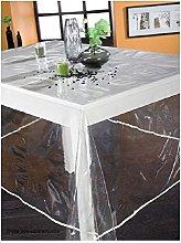 PROMOFLASH83 Plain Translucent Plastic Tablecloth