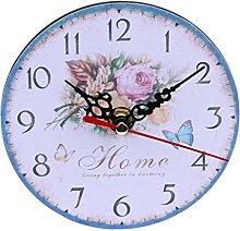 Prosperveil 12cm Wooden Wall Clock Retro Vintage