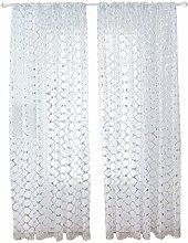 Prosperveil Glitter Net Print Sheer Curtains