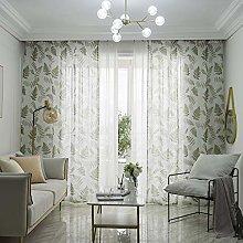 Prosperveil Green Leaf Pattern Voile Curtains