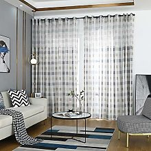 Prosperveil Grey Check Pattern Voile Curtains