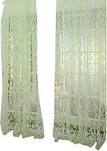 Prosperveil Leaf Design Voile Curtain Pencil Pleat