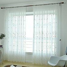 Prosperveil Modern Embroidered Voile Curtain