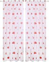 Prosperveil Poppy Flower Pattern Voile Curtain