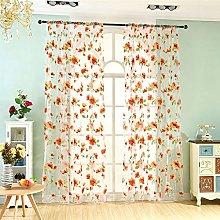 Prosperveil Voile Curtain Orange Large Flower
