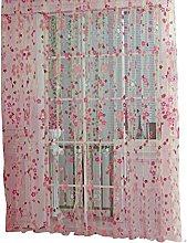 Prosperveil Voile Curtain Pink Small Flower Pencil