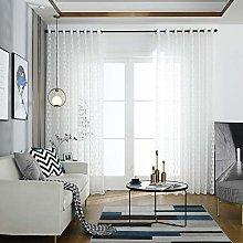 Prosperveil White Triangle Pattern Voile Curtains