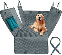 Protective cushion for car rear seat for gray dog