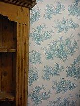 Provencale Toile De Jouy Wallpaper Teal 6115