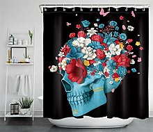 PSB Horror Blue Skull Flower Butterfly Shower