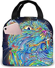 Psychedelic Cat Portable Lunch Bag Insulated
