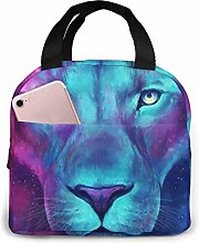 Psychedelic Lion Purple Armadillo Lunch Bag Tote