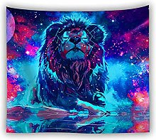 Psychedelic Lion Wall Tapestry Colorful Painting