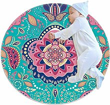 Psychedelic Mandala 4 Round area rug for kid
