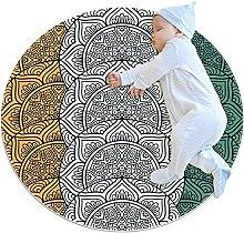 Psychedelic Mandala, Kids Round Rug Polyester