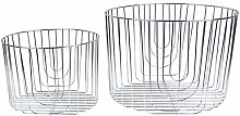 PT Wire Round Storage Baskets Lines Set of 2