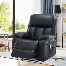 PU Leather Heated Massage Sofa Recliner Armchair,