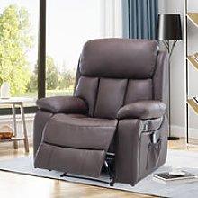 PU Leather Heated Massage Sofa Recliner Armchair,