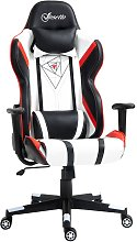 PU Leather High Back Gaming Chair w/ Headrest Arm