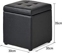 PU Leather Tufted Storage Ottoman Footstool, Solid