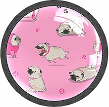 Pug Dog Pink Knobs and Pull Handle for Dresser