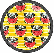 Pug Dog Stripe Watermelon Knobs and Pull Handle