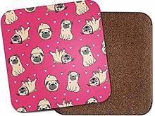 Pug Pink Hearts Drinks Coaster - Cute Dog Girls