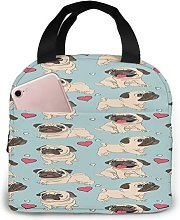 Pug Puppies 22 Portable Lunch Tote Bag Lunch Bag