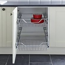 Pull Out Linear Wire Basket Storage Set, for 200mm