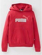 Puma Girls Essentials + Fleece Logo Hoodie - Red