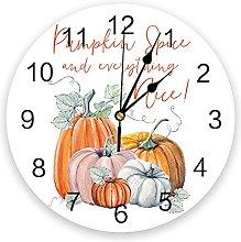 Pumpkins Leaves Thanksgiving Modern Wall Clock For