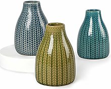 Pumxi Crackled Ceramic Flower Vases Set of 3