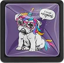 Puppy Bulldog with Unicorn Horn and Tail Square