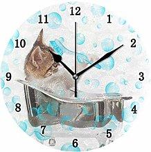 Puppy Cat Wall Clock, Silent Non Ticking Battery