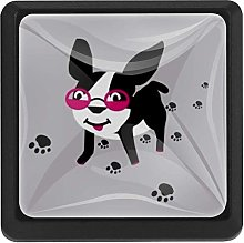 Puppy with Glasses Square Cabinet Knobs Cabinets