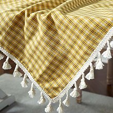 Pure Cotton Checkered Retro Dustproof Tablecloth