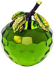 Pure Crystal Glass Green Apple with Leaf