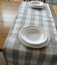 Pure Natural Linen Table Runners (Checked Linen)