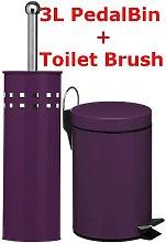 Purple 3L Ltr Litre Pedal Bin Stainless Steel